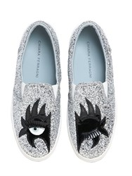 Chiara Ferragni 30Mm Kiss Glitter Slip On Sneakers