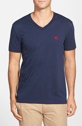 Men's Burberry Brit 'Lindon' V Neck Cotton T Shirt Navy