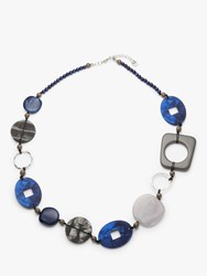 One Button Abstract Beaded Necklace Blue Grey