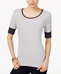 Tommy Hilfiger Striped Top Only At Macy's Ivory