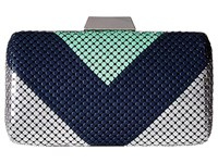 Jessica Mcclintock Callie Color Block Minaudiere Teal Navy Silver Clutch Handbags Multi