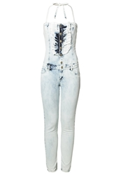 Amy Gee Jumpsuit Random Ball Bleach Bleached Denim