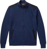 Loro Piana Suede Trimmed Cashmere And Silk Blend Zip Up Cardigan Indigo