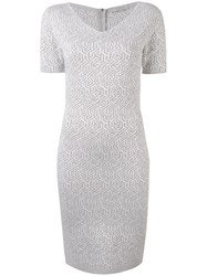 D.Exterior Geometric Pattern Fitted Dress Women Polyester Viscose M White