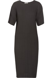 Jil Sander Plisse Georgette Dress Black