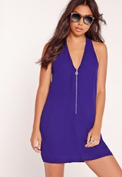 Missguided Zip Front Strappy Back Mini Dress Blue Blue