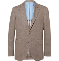 Hackett Brown Delave Slim Fit Herringbone Linen Blazer Tan
