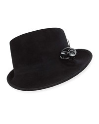 Philip Treacy Side Sweep Velour Hat W Abstract Patent Leather Bow Black