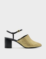 Charles And Keith Ankle Strap Mules Gold