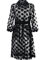 Simone Rocha Floral Embellished Sheer Coat Black