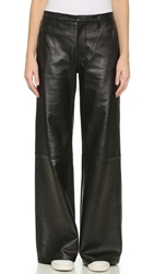 J Brand Carine Wide Leg Leather Pants Black