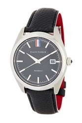 Brooks Brothers Men's Fleece Collection Black Leather Strap Watch