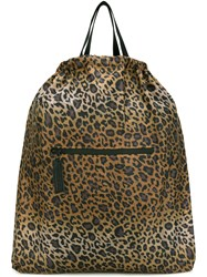 Hope Leopard Print Backpack Women Nylon One Size Brown