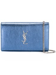 Saint Laurent Monogram Chain Wallet Blue
