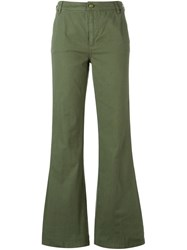 Tory Burch Flared Trousers Green