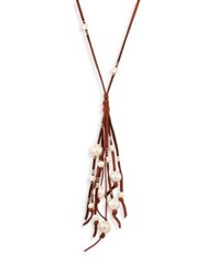 Chan Luu Long 13 17Mm Freshwater Cultured Pearl And Leather Tassel Necklace Tan White