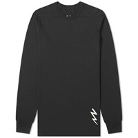 Rick Owens Long Sleeve Lightning Bolt Motif Level Tee Black