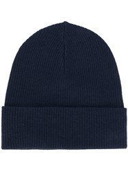 P.A.R.O.S.H. Classic Knitted Beanie Hat Wool Blue