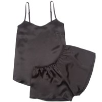 Law Of Sleep Marie Silk Camisole Set In Black