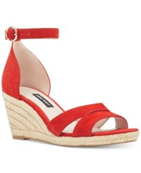 Nine West Jeranna Wedge Sandals Red Suede