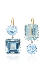 Renee Lewis 18K White Gold Synthetic Sapphire And Aquamarine Earrings Blue