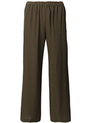 Aspesi Cropped Silk Trousers Green