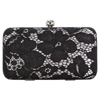 Jacques Vert Lace Box Clutch Bag Black