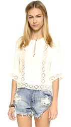 Twelfth St. By Cynthia Vincent Lace Inset Blouse White