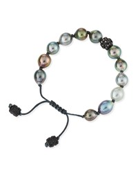 Old World Tahitian Pearl Pull Cord Bracelet With Champagne Diamonds Gunmetal Armenta