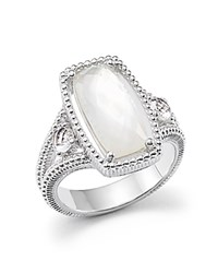 Judith Ripka Sterling Silver 3 Stone Harmony Ring With Mother Of Pearl And Rock Crystal Quartz Doublet White Silver