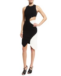 Thierry Mugler Studded Two Tone Cady Dress Black White Black White