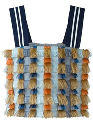Cristiano Burani Fringe Crop Top Blue