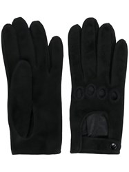 Manokhi Cut Out Detail Gloves Women Lamb Skin 7.5 Black