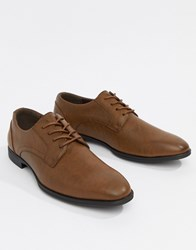 New Look Faux Leather Derby Shoes In Tan Dark Brown