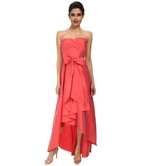 Adrianna Papell Strapless High Lo Taffeta Ball Gown Coral Women's Dress