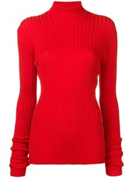Victoria Beckham Fitted Turtle Neck Top Red
