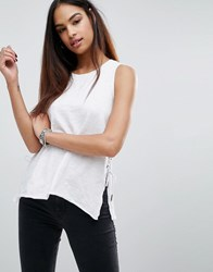 Blank Nyc Tank With Side Lace Up Detail White
