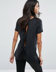 Current Air Eco Friendly Model Open Back Top With Bow Detail Black