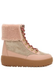Coach 40Mm Tyler Suede And Leather Hiking Boots Beige Blush