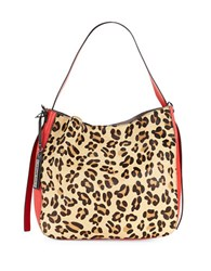 Via Spiga Celeste Calf Hair Accented Hobo Bag Leopard
