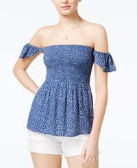 American Rag Printed Off The Shoulder Top Only At Macy's Bright Cobalt