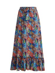 Etro Abstract Floral Print Ruffle Trim Cotton Skirt Blue Multi