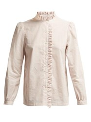 A.P.C. Ruffle Detailed Striped Cotton Blouse Pink Multi