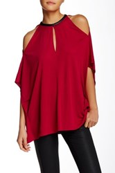 Cut25 By Yigal Azrouel Draped Keyhole Leather Trim Blouse Pink