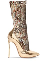 Casadei 120Mm The Party Blade Sequined Boots Gold
