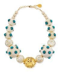 Devon Leigh Pearl And Scattered Turquoise Necklace