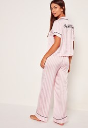Missguided Graphic Striped Pyjama Set Pink