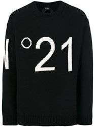 N 21 No21 Logo Embroidered Sweater Black