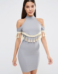 Naanaa Cold Shoulder Bodycon Dress With Tassel Trim Blue Grey