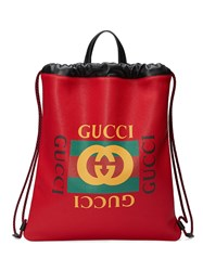 Gucci Print Leather Drawstring Backpack Leather Red